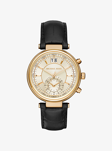Sawyer Gold-Tone and Embossed-Leather Watch by Michael Kors