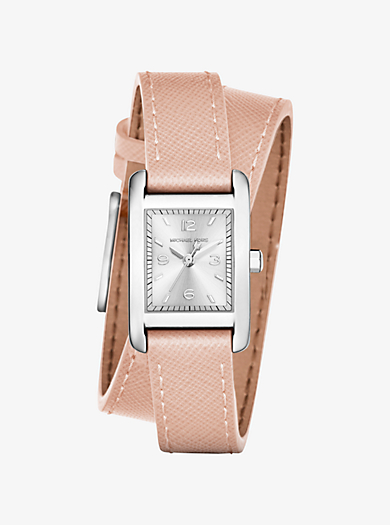 Taylor Silver-Tone and Leather Wrap Watch by Michael Kors