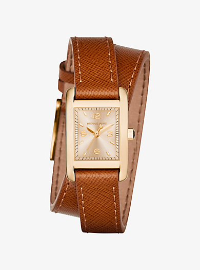 Taylor Gold-Tone and Leather Wrap Watch  by Michael Kors