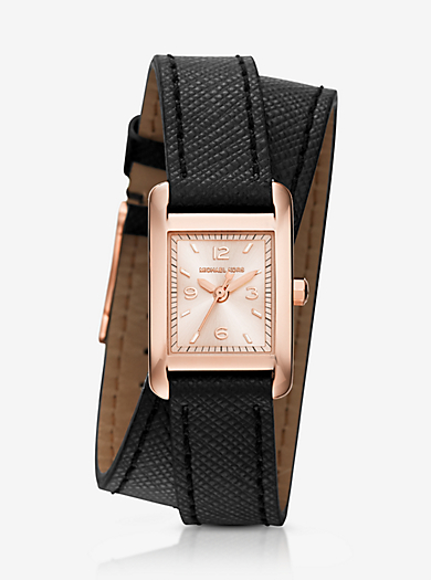 Taylor Rose Gold-Tone and Leather Wrap Watch  by Michael Kors