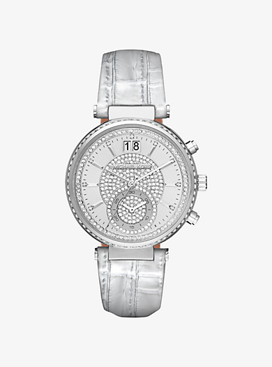 Sawyer Silver-Tone and Leather Watch by Michael Kors