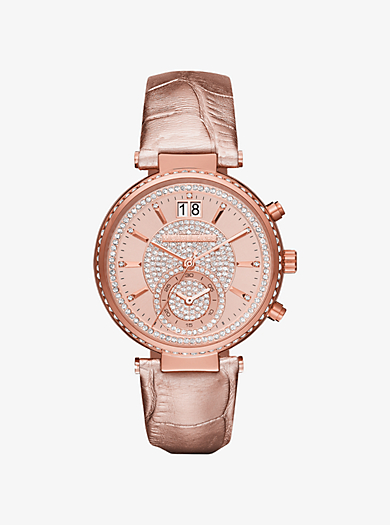 Sawyer Rose Gold-Tone and Leather Watch  by Michael Kors
