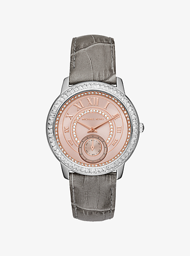 Madelyn Pavé Two-Tone and Leather Watch  by Michael Kors