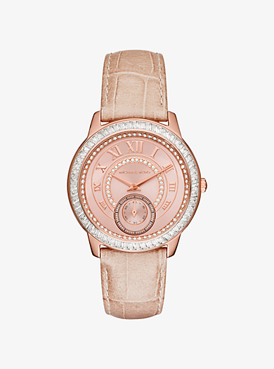 Madelyn Pavé Rose Gold-Tone and Leather Watch  by Michael Kors