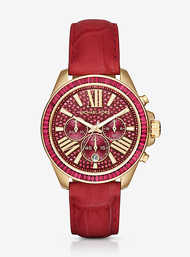 Wren Gold-Tone and Leather Watch  by Michael Kors