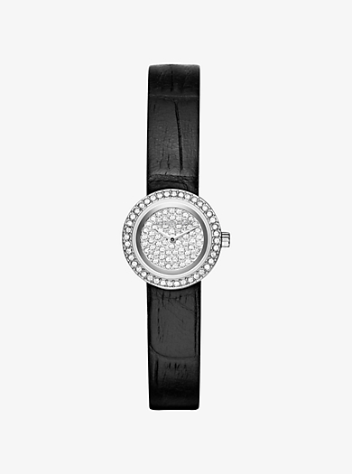 Cocktail Petite Silver-Tone and Embossed-Leather Watch by Michael Kors