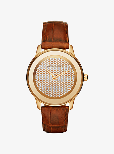Kinley Pavé Gold-Tone and Leather Watch by Michael Kors