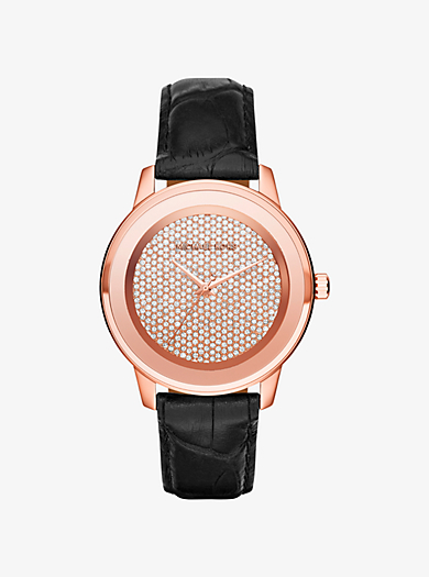 Kinley Pavé Rose Gold-Tone and Leather Watch  by Michael Kors