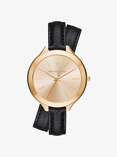 Slim Runway Gold-Tone and Leather Wrap Watch by Michael Kors