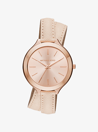 Slim Runway Rose Gold-Tone and Leather Wrap Watch  by Michael Kors