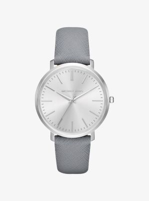 3f009e76a954 Jaryn Silver-Tone Leather-Band Watch