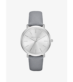 Jaryn Silver-Tone Leather-Band Watch by Michael Kors