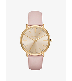 Jaryn Gold-Tone Leather-Band Watch by Michael Kors