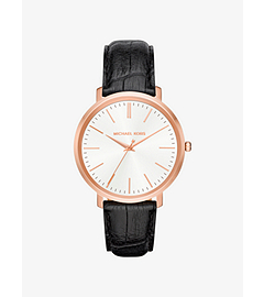 Jaryn Rose Gold-Tone and Embossed-Leather Watch by Michael Kors