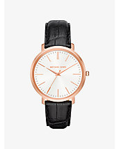 Jaryn Rose Gold-Tone and Embossed-Leather Watch