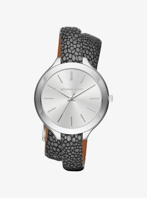 Slim Runway Silver-Tone and Leather Wrap Watch by Michael Kors