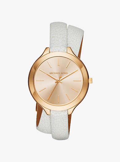 Slim Runway Gold-Tone and Leather Watch by Michael Kors