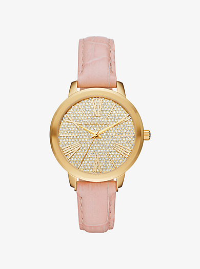 Hartman Gold-Tone and Embossed-Leather Watch by Michael Kors