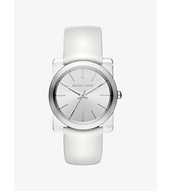 Kempton Silver-Tone Leather-Band Watch by Michael Kors