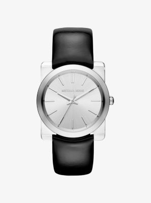 Kempton Silver-Tone Leather-Band Watch by Michael Kors