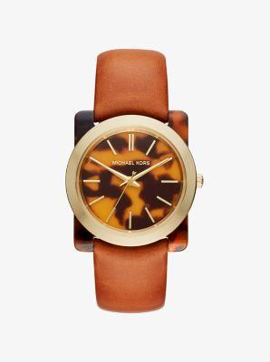 Kempton Tortoise-Acetate Leather-Band Watch by Michael Kors