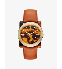 Kempton Tortoise-Acetate Leather-Band Watch by Michael Kors