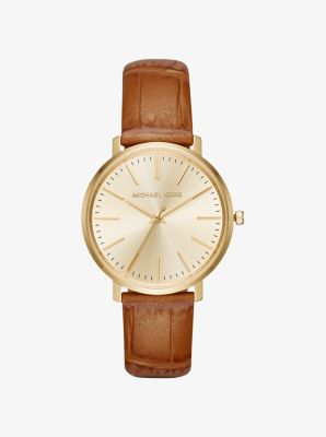 Jaryn Gold-Tone and Embossed-Leather Watch by Michael Kors