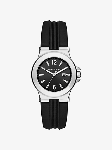 Mini Dylan Silver-Tone and Silicone Watch by Michael Kors