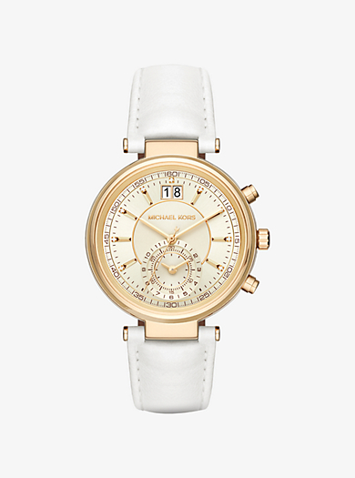 Sawyer Gold-Tone and Leather Watch  by Michael Kors