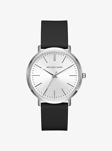 Jaryn Silver-Tone and Leather Watch by Michael Kors