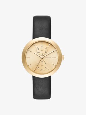 Garner Gold-Tone and Leather Watch by Michael Kors