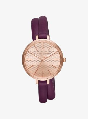 Jaryn Rose Gold-Tone and Leather Wrap Watch by Michael Kors