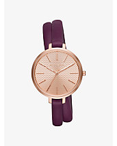 Jaryn Rose Gold-Tone and Leather Wrap Watch