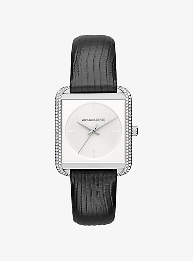 Lake Pavé Silver-Tone and Embossed-Leather Watch by Michael Kors