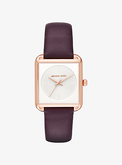 Lake Rose Gold-Tone and Leather Watch by Michael Kors