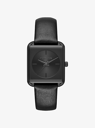Lake Black-Tone IP and Leather Watch by Michael Kors