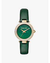Mini Parker Pavé Gold-Tone and Leather Watch