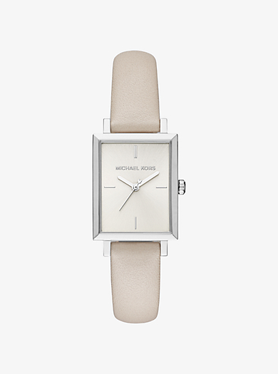 Harway Silver-Tone and Leather Watch by Michael Kors