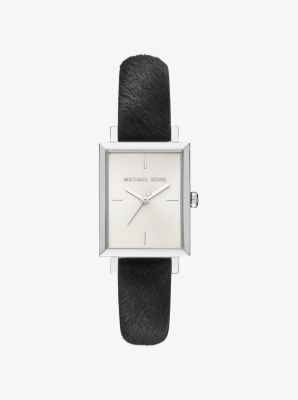 Harway Silver-Tone and Calf Hair Watch by Michael Kors