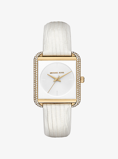 Lake Pavé Gold-Tone and Embossed-Leather Watch by Michael Kors