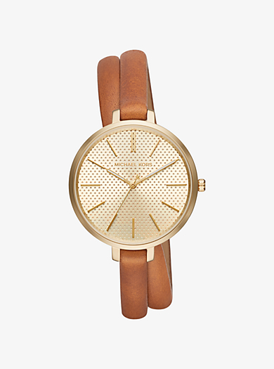 Jaryn Gold-Tone and Leather Wrap Watch by Michael Kors