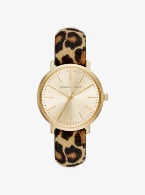 Jaryn Gold-Tone and Leopard Calf Hair Watch by Michael Kors