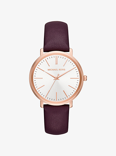 Jaryn Rose Gold-Tone and Leather Watch by Michael Kors