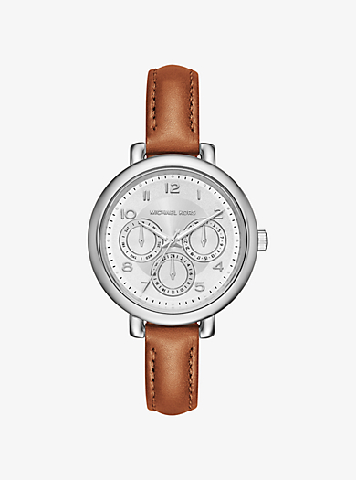 Kohen Silver-Tone and Leather Watch by Michael Kors