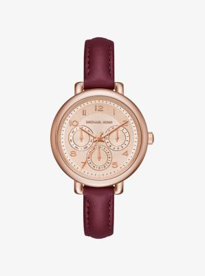Kohen Rose Gold-Tone and Leather Watch by Michael Kors