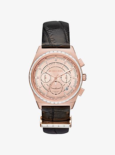 Armbanduhr Vail im Rosé-Goldton mit geprägtem Lederarmband by Michael Kors