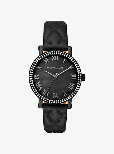 Norie Pavé Quilted Leather Watch by Michael Kors
