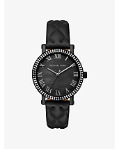 Norie Pavé Quilted Leather Watch