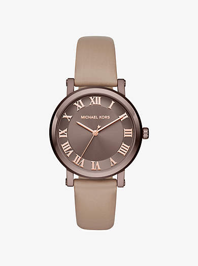 Norie Sable-Tone and Leather Watch by Michael Kors