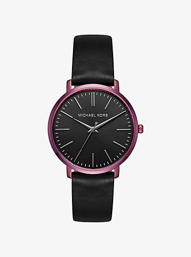 Jaryn Plum-Tone and Leather Watch by Michael Kors